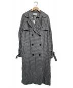 Pinky & Dianne(ピンキーアンドダイアン)の古着「ギンガムチェックソフトトレンチコート コート」|ホワイト×ブラック