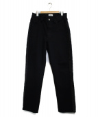 STUDIO SEVEN(スタジオ セブン)の古着「Leather Line Denim パンツ」|ブラック