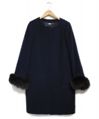 NOLLEYS sophi(ノーリーズ ソフィ)の古着「アンゴラボーダー袖ファーコート」|ネイビー