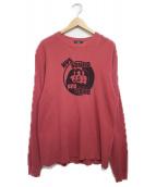 Hysteric Glamour(ヒステリックグラマ)の古着「HYS SOUND & VISIONリブ付Tシャツ Tシャツ」|レッド
