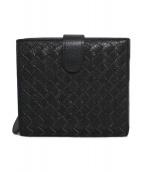 BOTTEGA VENETA(ボッテガヴェネタ)の古着「イントレチャート2つ折り財布 財布」|ブラック