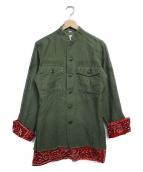 OLD PARK(オールドパーク)の古着「バンダナドッキングミリタリーシャツ シャツ」|カーキ