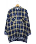 OLD PARK(オールドパーク)の古着「バンダナドッキングチェックシャツ シャツ」|ブルー