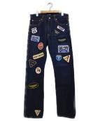 CDG JUNYA WATANABE MAN(コムデギャルソンジュンヤワタナベマン)の古着「ワッペンデニムパンツ パンツ」|インディゴ