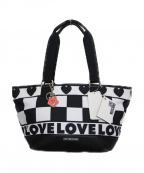 LOVE MOSCHINO(ラブモスキーノ)の古着「モノトーンブロックチェックトートバッグ バッグ」 ホワイト×ブラック