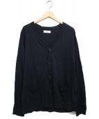 unfil(アンフィル)の古着「リネンカーディガン カーディガン」|ブラック