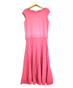 ()の古着「横編みフレアニットワンピース」|ピンク