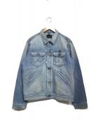 Wrangler(ラングラー)の古着「ダメージ加工テーパードデニムジャケット」|インディゴ