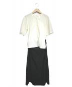 ()の古着「コットンボイルパラシュートクロスセットアップドレス」 ホワイト×ブラック