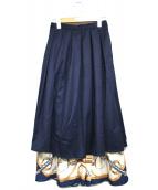 AMERI(アメリ)の古着「スカーフドッキングレイヤードスカート」|ネイビー