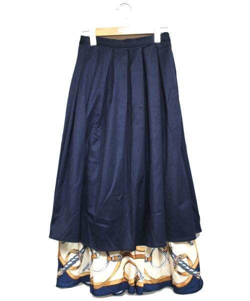 Ameri(アメリ)AMERI (アメリ) スカーフドッキングレイヤードスカート ネイビー サイズ:表記無しの古着・服飾アイテム