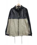 DIESEL BLACK GOLD(ディーゼルブラックゴールド)の古着「ヴィンテージ加工切替ジャケット」|ベージュ×ネイビー