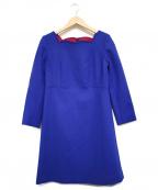 TARA JARMON(タラジャーモン)の古着「スカラップデザイン切り替えドレス」|ブルー