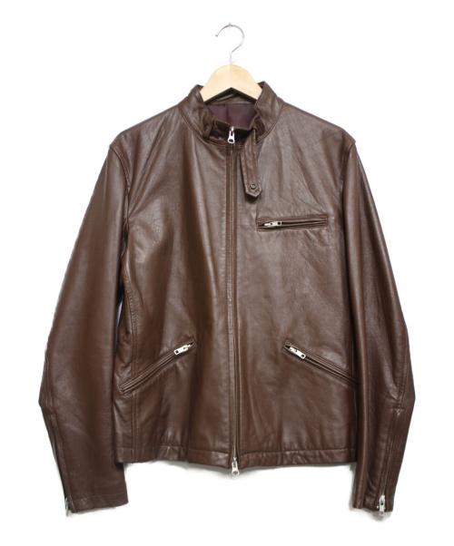 TAKEO KIKUCHI(タケオキクチ)TAKEO KIKUCHI (タケオキクチ) ラムレザージャケット ブラウン サイズ:3の古着・服飾アイテム