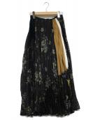 mame kurogouchi(マメ クロゴウチ)の古着「フローラルプリーツスカート」|ネイビー