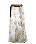 mame kurogouchi(マメ クロゴウチ)の古着「フローラルプリーツスカート」|ホワイト