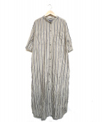 HUMAN WOMAN(ヒューマンウーマン)の古着「テンセル綿麻ボーダーワンピース」 グレー