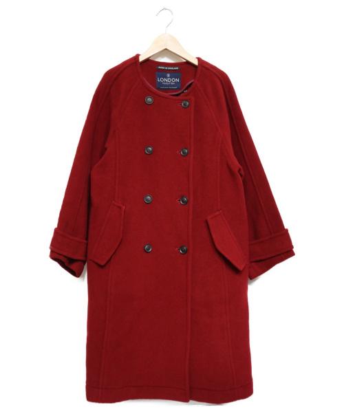 LONDON Tradition(ロンドントラディション)LONDON Tradition (ロンドントラディション) ノーカラーラウンドネックコート レッド サイズ:36の古着・服飾アイテム