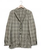 Belvest(ベルベスト)の古着「リネン混チェックジャケット」|ベージュ