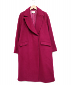 Pinky & Dianne(ピンキーアンドダイアン)の古着「ウールダブルクロスカラーコート」|ショッキングピンク