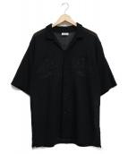 Coohem(コーヘン)の古着「レースニットアロハシャツ」|ブラック