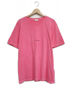 Saint Laurent Paris(サンローランパリ)の古着「ミニロゴクルーネックTシャツ」|ピンク