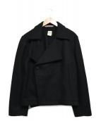 FRANK LEDER(フランクリーダー)の古着「メルトンショートPコート」|ブラック