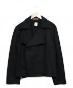 FRANK LEDER()の古着「メルトンショートPコート」|ブラック