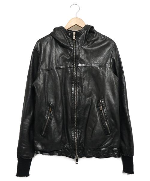 GIORGIO BRATO(ジョルジオブラット)GIORGIO BRATO (ジョルジオブラット) ラムレザーフーデッドジャケット ブラック サイズ:48の古着・服飾アイテム