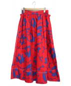 MARNI(マルニ)の古着「プリントミディスカート」|レッド×ブルー