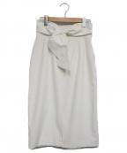 Pinky & Dianne()の古着「ウエストリボンギャバスカート」|ホワイト