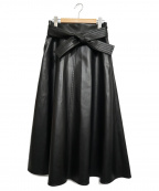 Pinky & Dianne()の古着「フェイクレザーフレアスカート」|ブラック