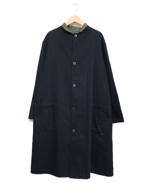 plantation(プランテーション)Plantation (プランテーション) カツラギWガーゼコート ネイビー×カーキ サイズ:Mの古着・服飾アイテム