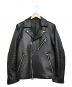 LIDnM(リドム)の古着「ラムレザーダブルライダースジャケット」|ブラック