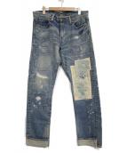MIHARA YASUHIRO(ミハラヤスヒロ)の古着「リペア加工デニムパンツ」|インディゴ