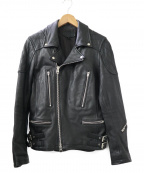 JACKROSE(ジャックローズ)の古着「ラムレザーダブルライダースジャケット」 ブラック