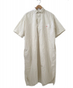 DANTON(ダントン)の古着「コットンポプリンストライプロングシャツ」|ベージュ