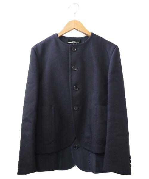 tricot COMME des GARCONS(トリココムデギャルソン)tricot COMME des GARCONS (トリココムデギャルソン) ノーカラーレイヤードジャケット ネイビー サイズ:S AD2020の古着・服飾アイテム