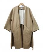 VONDEL(フォンデル)の古着「コットンリネンオーバーサイズノーカラーコート」|ベージュ