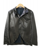 Y's(ワイズ)の古着「LAMB LEATHER STAND COLLAR JACK」|ブラック
