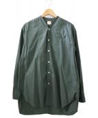 ()の古着「ノーカラーシャツ」|グリーン