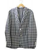 ()の古着「チェックテーラードジャケット」|ブルー×ホワイト