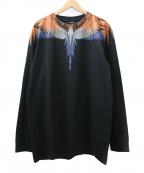 MARCELO BURLON(マルセロバーロン)の古着「フェザープリント長袖カットソー」|ブラック