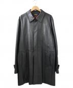 DURBAN(ダーバン)の古着「ラムレザーステンカラーコート」|ブラック
