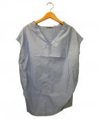DEUXIEME CLASSE()の古着「コットンプルオーバーショートスリーブブラウス」|ブルー