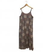 khaju(カージュ)の古着「タイルプリントワンピース」|ブラウン