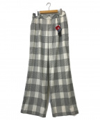 LAUTRE AMONT(ロートレアモン)の古着「チェックポリワイドパンツ」 グレー×ホワイト