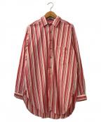 FRANK LEDER(フランクリーダー)の古着「ストライプコットンシャツ」 レッド