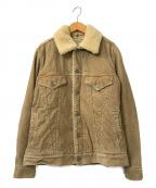 REMI RELIEF(レミレリーフ)の古着「袖フラワースタッズコーデュロイランチジャケット」|ベージュ
