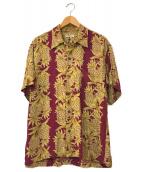 ()の古着「パイナップルボーダーアロハシャツ」 ボルドー